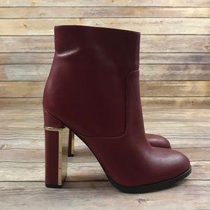 Calvin Klein Red Gold Karlia Round Toe Boots